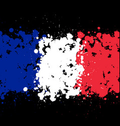 grunge blots france flag background vector image