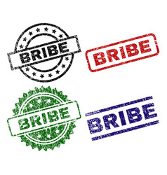Grunge textured bribe seal stamps vector