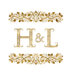 h and l vintage initials logo symbol vector image