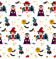 halloween seamless pattern with kids vector image