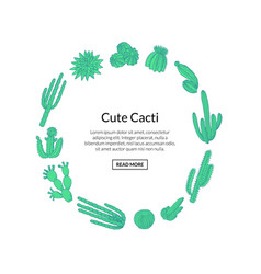 hand drawn desert cacti plants with place vector image