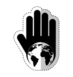 Hand human with world planet silhouette icon vector