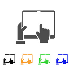 Hand points pda icon vector