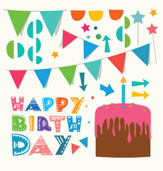 happy birthday greeting design elements vector image