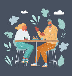 happy young couple in cafe vector image