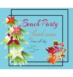 Hello Summer Beach Party Flyer Design EPS vector image