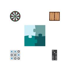 icon flat entertainment set of backgammon darts vector image