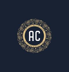 Initial ac antique retro luxury victorian vector