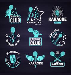 karaoke badges emblem for music studio microphone vector image
