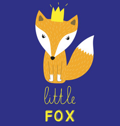 little fox slogan animal with crown vector image