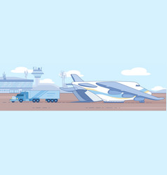 loading heavy truck in cargo plane flat vector image