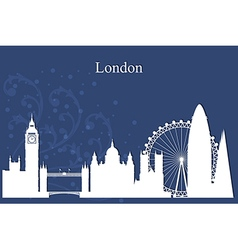 London city skyline silhouette on blue background vector