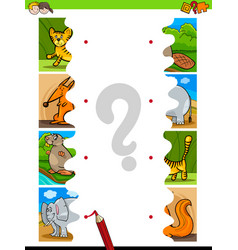 Match jigsaw puzzles cartoon wild animals vector