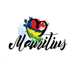 mauritius country flag concept with grunge design vector image