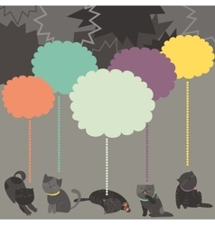 Monochrome cats with color Speech Bubble vector image