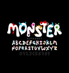 monster cartoon style font design childish vector image