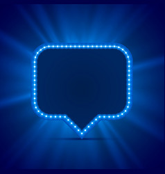 Neon frame sign in the shape of a chat vector