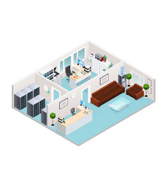 office interior isometric design vector image