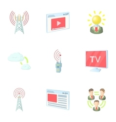 Online icons set cartoon style vector
