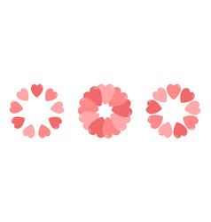 pink heart wreath set round circle border happy vector image