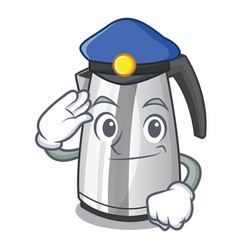 Police electric stainless steel kettle on vector