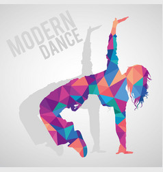 polygonal silhouette sportive girl dancing vector image