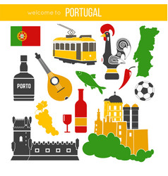 portugal traditional objects collection on white vector image vector image
