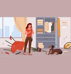 Problem pet dog owner upset woman scolding dog vector