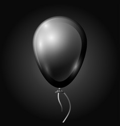 Realistic black balloon with ribbon isolated vector