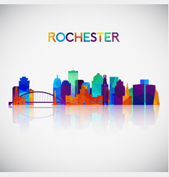 rochester skyline silhouette in colorful vector image