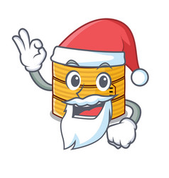 Santa wooden steamed food container on cartoon vector