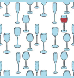 seamless pattern wine glasses with red wine vector image