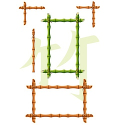 Set of bamboo design elements vector