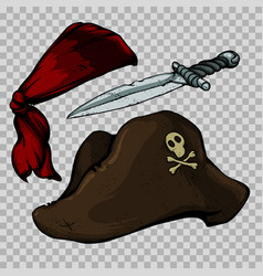 set of pirate items vector image