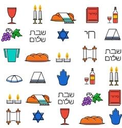 Shabbat symbols seamless pattern vector