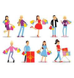 shopping people concepts flat design vector image
