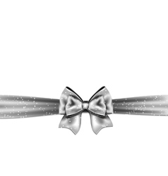 Silver bow on white background vector image