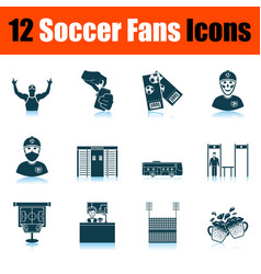 Soccer fans icon set vector
