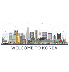 South korea city skyline with color buildings vector