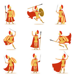 Spartan soldier in golden armor and red cape set vector