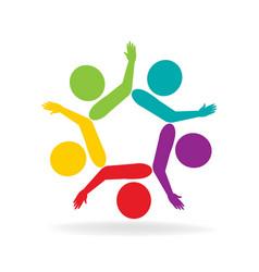 Teamwork helpful support people logo vector