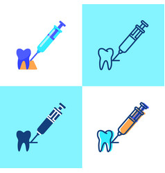 Tooth anesthesia icon set in flat and line style vector