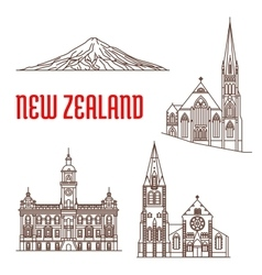 Travel landmarks of New Zealand thin line icon vector image