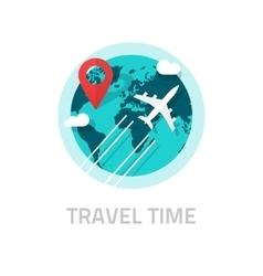 travelling around world plane travel vector image