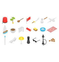Turkey country icons set isometric style vector