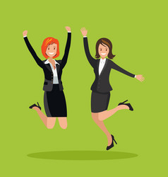 two business women are jumping vector image