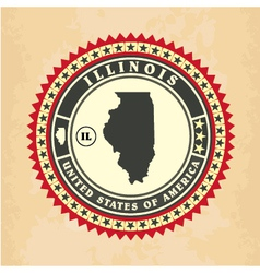 Vintage label-sticker cards of Illinois vector image