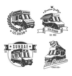 Vintage monochrome food trucks labels set vector