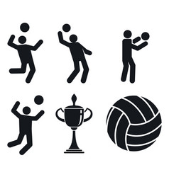 volleyball icons set simple style vector image