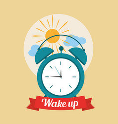 Wake up good morning poster with alarm clock and vector